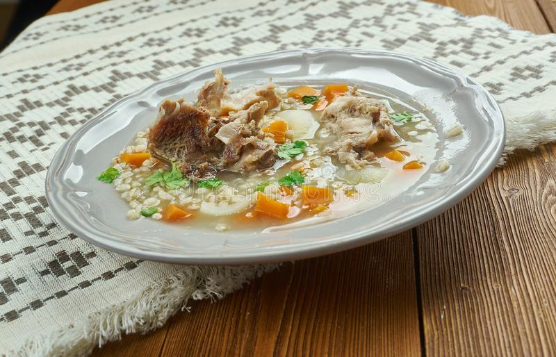 Amish Beef Barley Soup. Classic version Barley Soup in Pennsylvania Dutch people royalty free stock photo