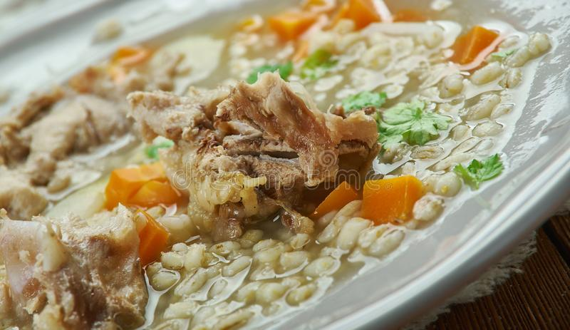 Amish Beef Barley Soup. Classic version Barley Soup in Pennsylvania Dutch people royalty free stock image