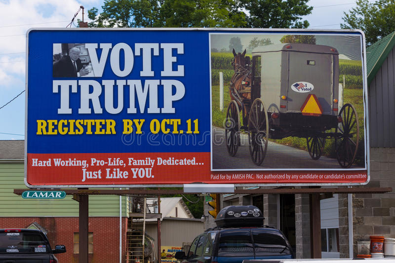 Amish Billboard Vote Trump royalty free stock images