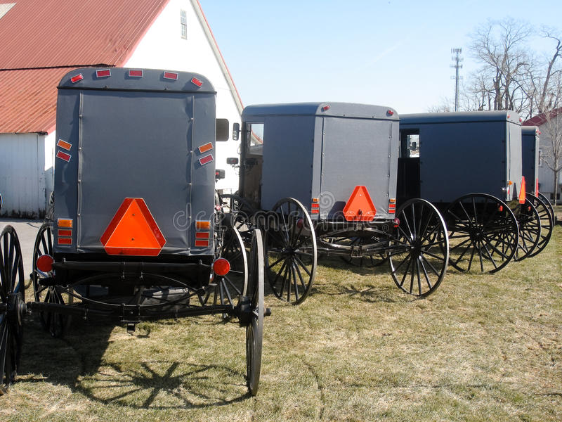 Amish Buggies. Parked in front of a Barn in Lancaster, PA royalty free stock images