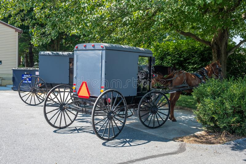 Amish Buggy, Lancaster County, Pennsylvania. An amish buggy and horse in Lancaster County, Pennsylvania royalty free stock photography