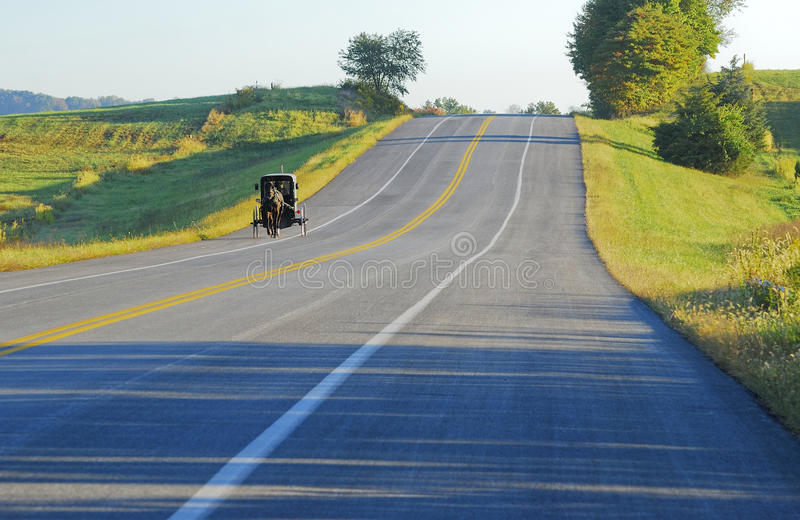 Download Amish Buggy morning drive stock photo. Image of travel - 16218430