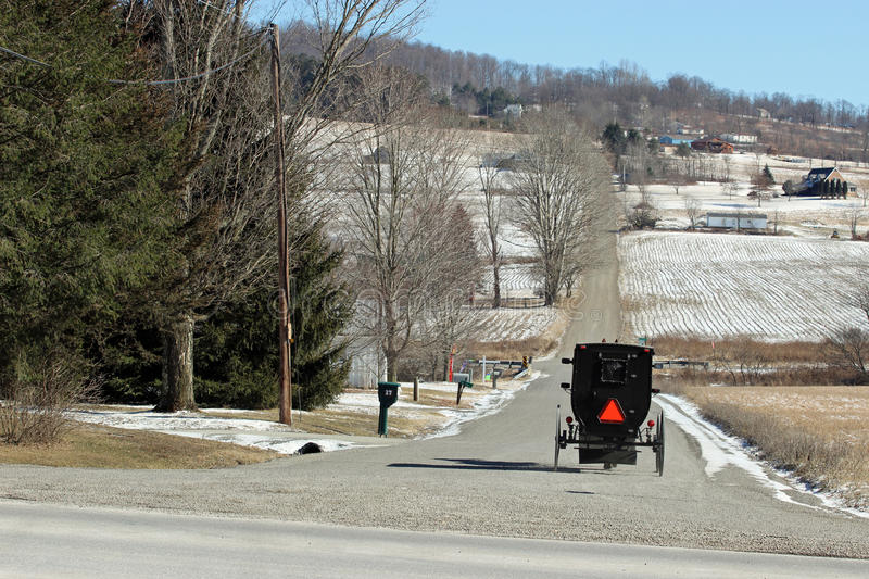 Amish buggy. An Amish buggy traveling on the road the old fashioned way royalty free stock photos