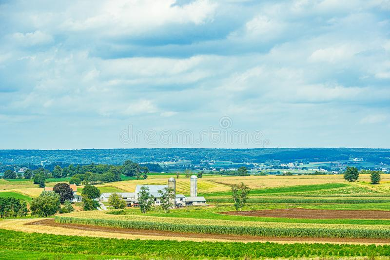 Amish country farm barn field agriculture in Lancaster, PA US. Amish country farm barn field agriculture in Lancaster, PA stock image