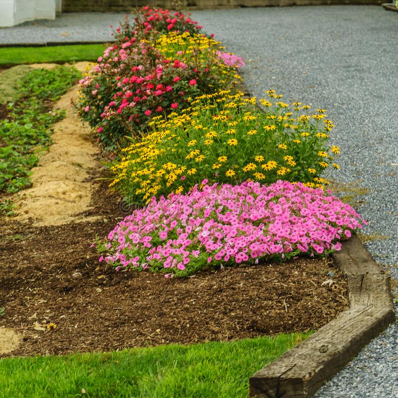 Amish country farm Flower bed in Lancaster, PA. US stock photo