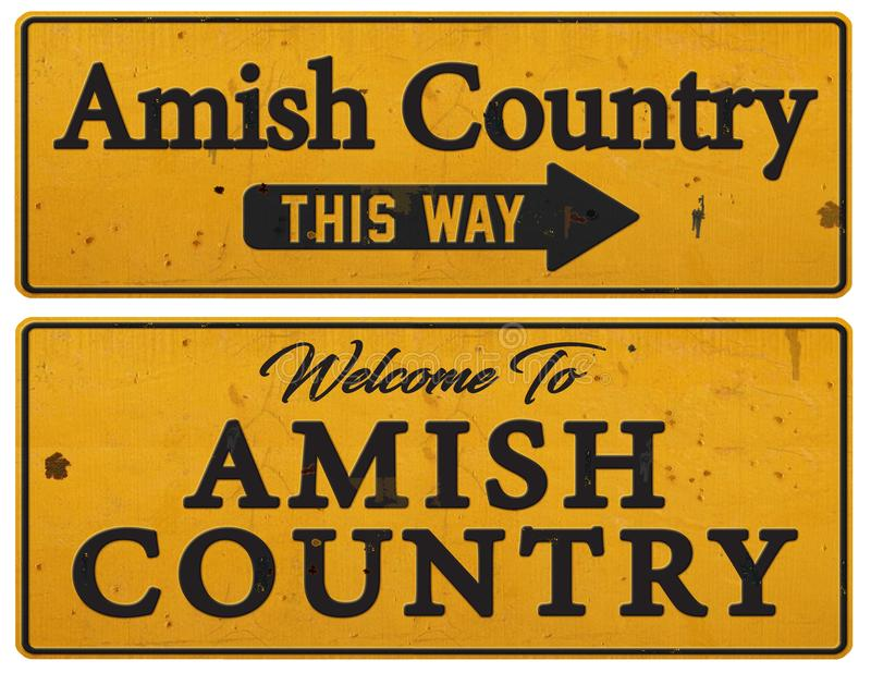 Amish Country Pennsylvania tin sign rustic. Grunge directional PA welcome to this way arrow royalty free stock photography