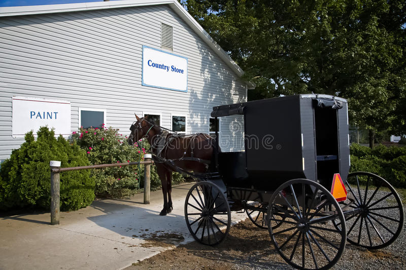 Amish Country Store with horse and buggy. In front of store royalty free stock photo
