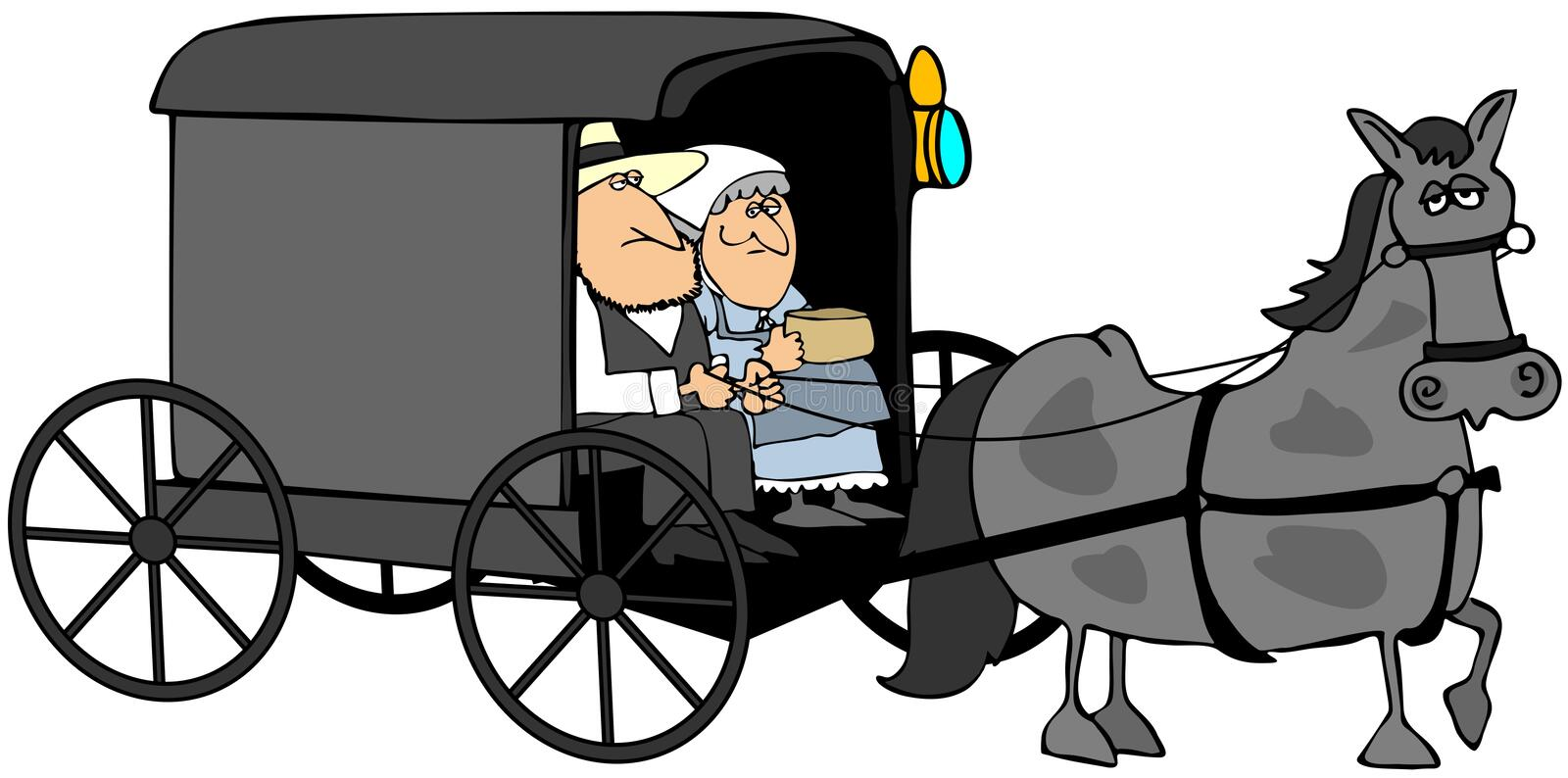 Amish Couple In A Buggy royalty free illustration