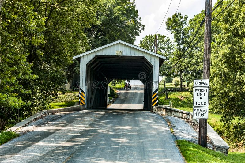 Amish Covered Bridge Buggy Going Through It. On a Summer Day stock image