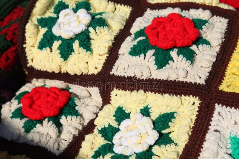 Amish crochet roses quilt. Blanket, cover, hand made, afghan made by Amish women royalty free stock photo