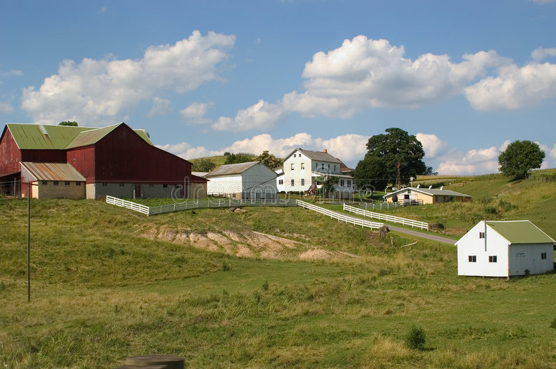 Download Amish Farm stock photo. Image of clouds, buildings, green - 9042