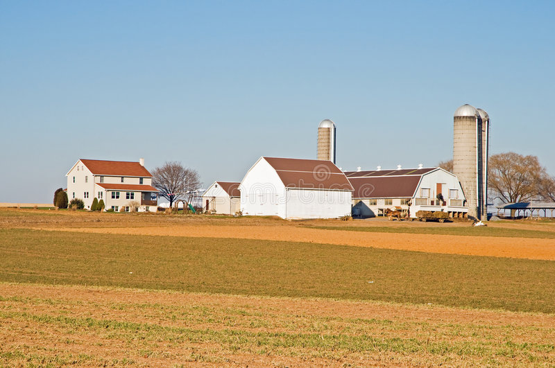 Amish farm barns and silo stock photo
