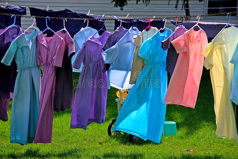 Amish farm and laundry. In the garden royalty free stock image