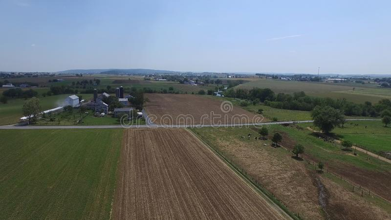 Amish Farmland as seen by a Drone. Aerial View of Amish Farmland as seen by a Drone royalty free stock photography