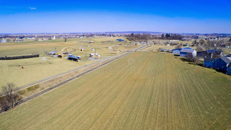 Amish farmlands by Rail Road Tracks royalty free stock image