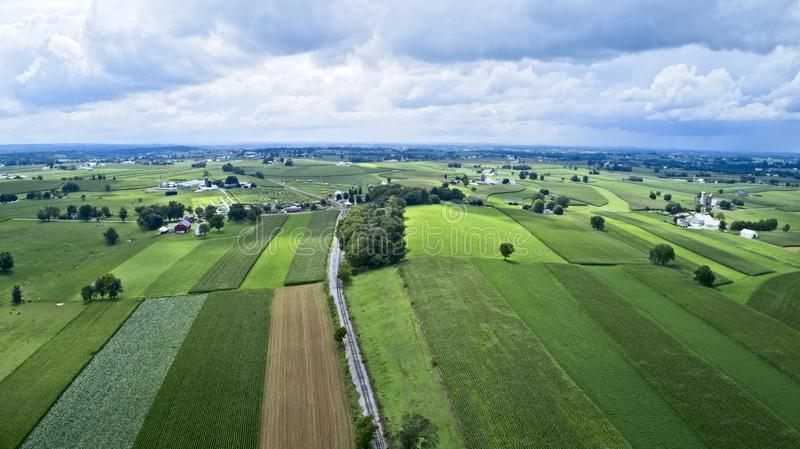 Amish farmlands by Rail Road Tracks stock photos