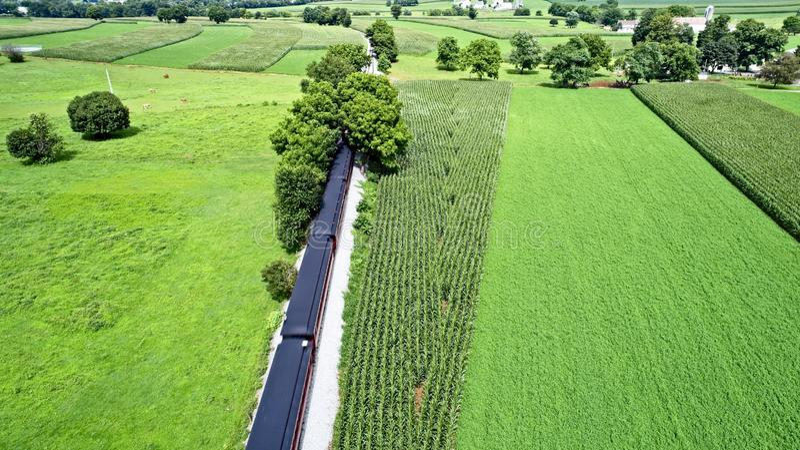 Amish farmlands by Rail Road Tracks. Aerial View of Amish Farmlands by Rail Road Tracks royalty free stock photo