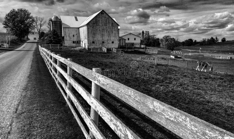FENCES - FARM - AMISH COUNTRY - OHIO - WHITE FENCE. The Amish are a group of traditionalist Christian church fellowships with Swiss German Anabaptist origins stock photos