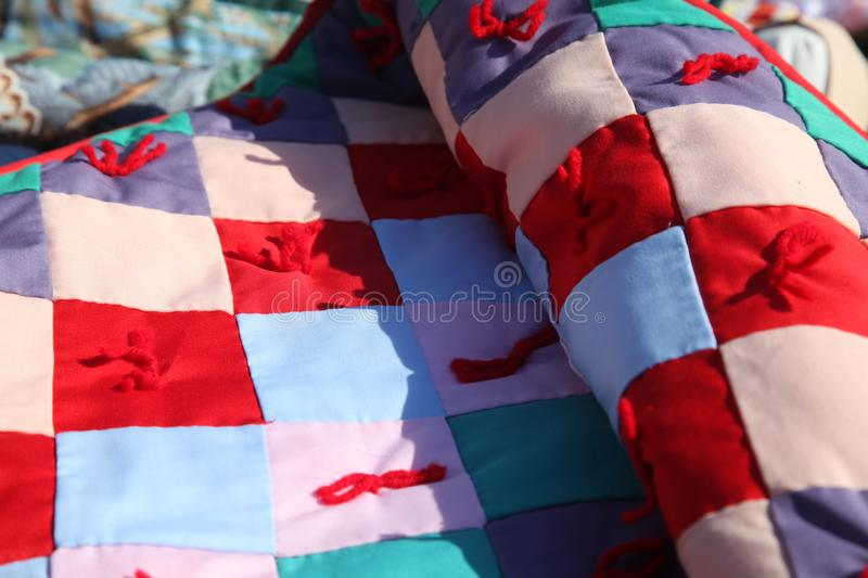 Amish handmade scrap quilt. Amish hand made scrap quilt, blanket, cover, hand made, by Amish women stock images