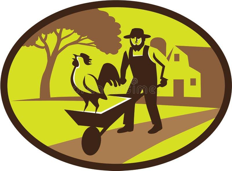 Download Amish Koguta Wheelbarrow Gospodarstwa Rolnego Średniorolny Owal Retro Ilustracja Wektor - Ilustracja złożonej z stajnia, amish: 65225927
