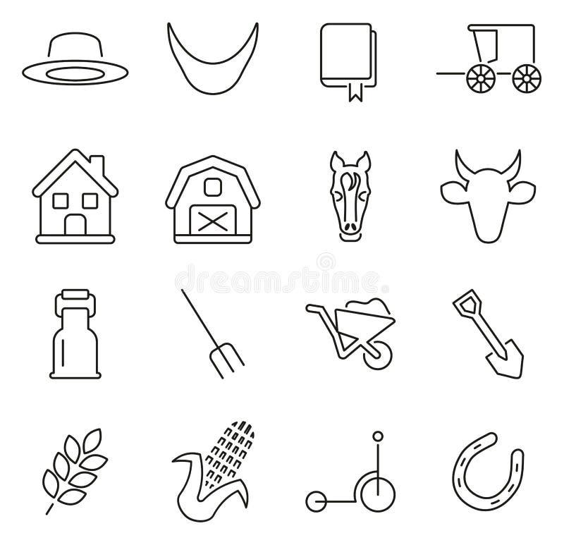 Amish kultur- & traditionssymboler gör linjen vektorillustrationuppsättning tunnare stock illustrationer