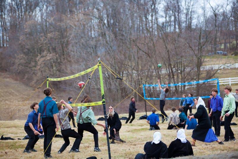 Amish młodość Bawić się siatkówkę zdjęcia royalty free
