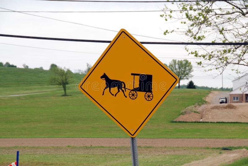Amish road sign royalty free stock photo
