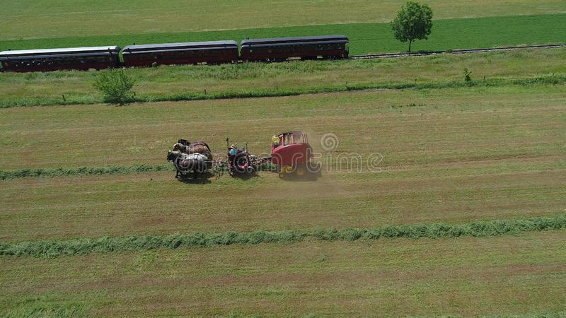 Amish rolnik Zbiera Jego uprawy z 4 koniami i Nowożytnym wyposażeniem fotografia stock