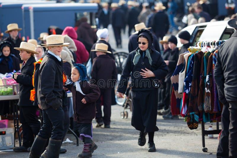 Amish społeczność przy sprzedażą fotografia royalty free