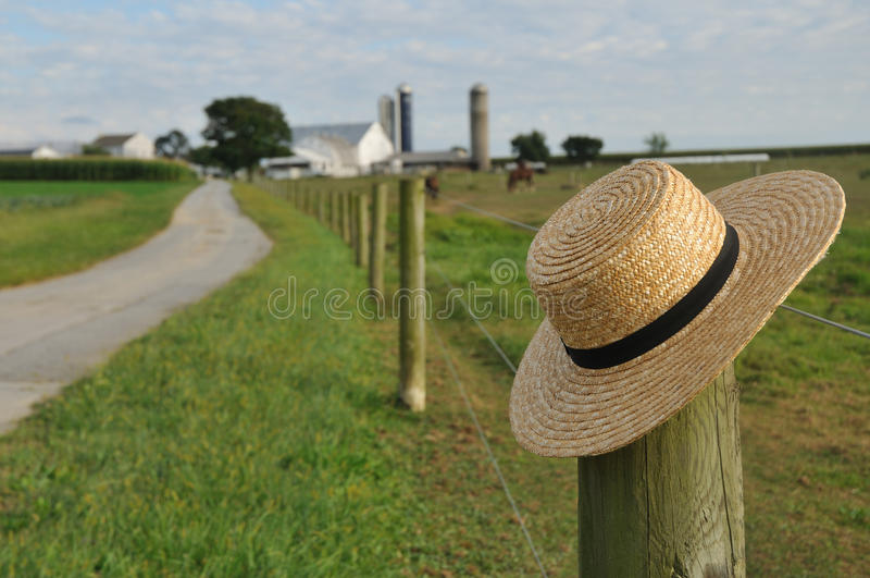 Amish straw hat in Lancaster Pennsylvania stock photo