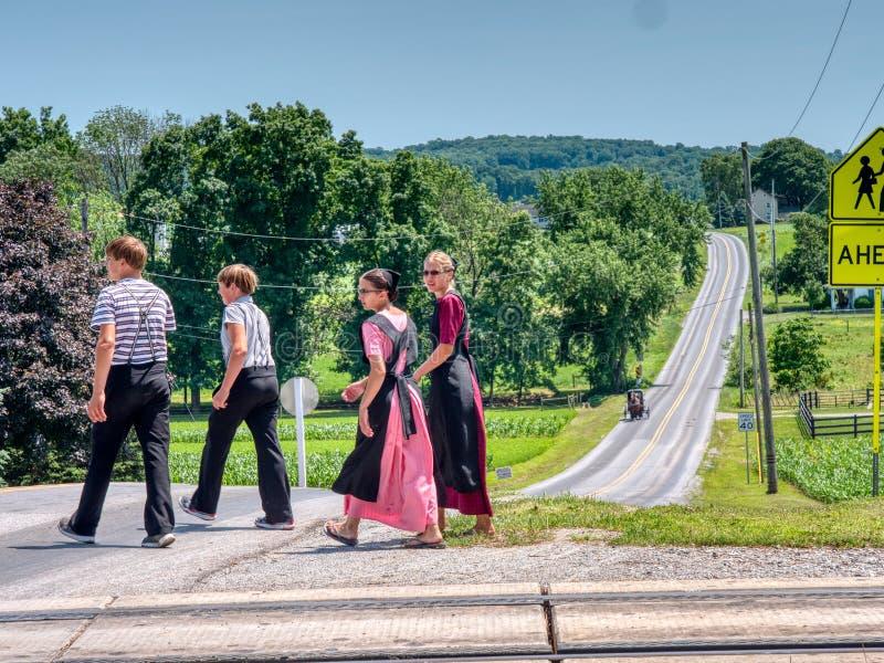 Amish Teenagers caminhando ao longo de traçados de trem no campo em um dia ensolarado fotos de stock