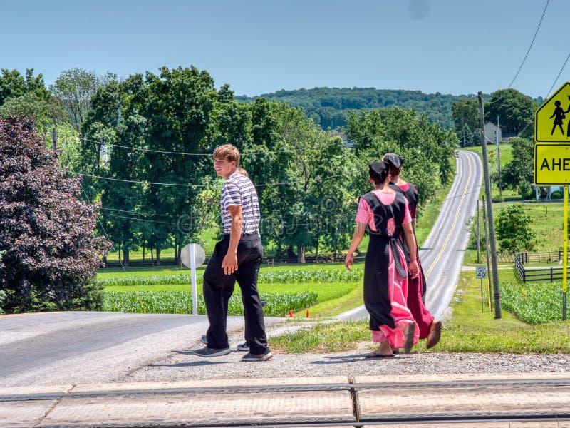 Amish Teenagers caminhando ao longo de traçados de trem no campo em um dia ensolarado imagens de stock royalty free