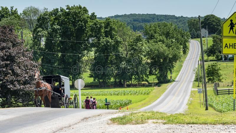 Amish Teenagers Walking Along Train Tracks with a Horse and Buggy Approaching in Countryside on a Sunny Day royalty free stock photos