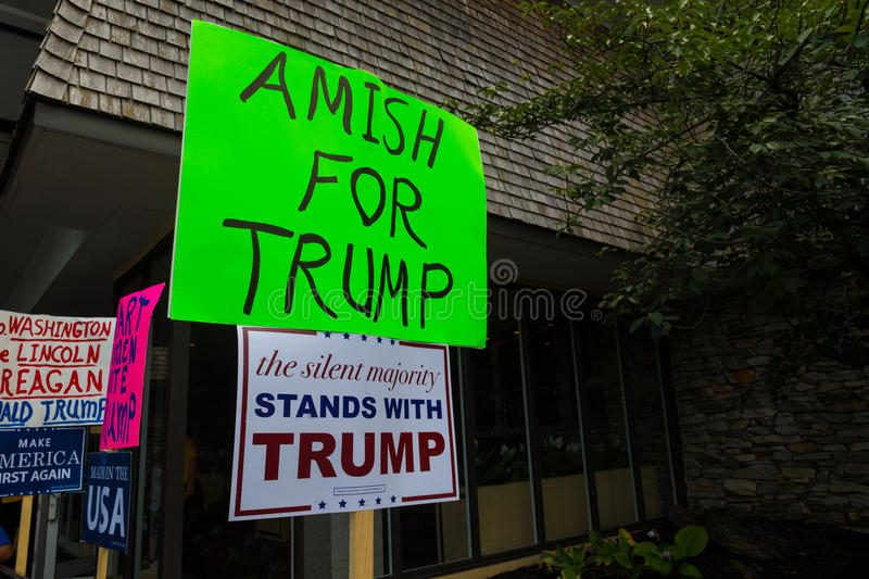 Amish for Trump Homemade Sign. Lancaster, PA - August 9, 2016: Signs at a rally during GOP Vice Presidential candidate Gov. Mike Pence appearance in Lancaster royalty free stock photography