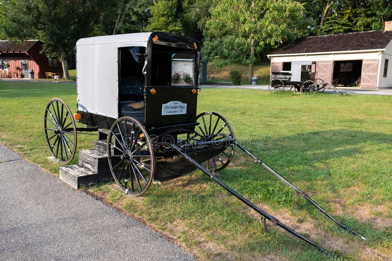 Amish Village and buggy, Pennsylvania stock photos
