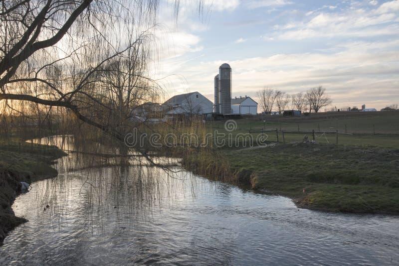 Amishlandbouwbedrijf bij dageraad stock fotografie