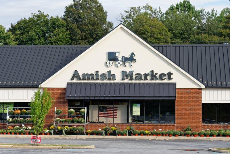 Amishmarknaden i byns köpcentrum i Westtown royaltyfri foto