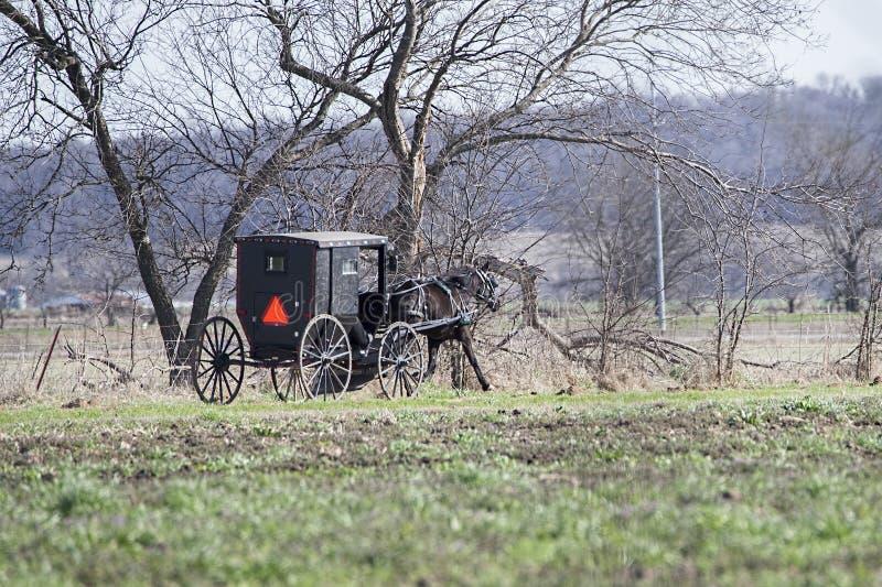 Amishpaard getrokken zwarte spoked met fouten, wielen, de farmlan kant van het land, stock afbeeldingen