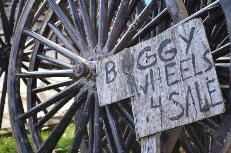 Amishwielen met fouten voor verkoop stock afbeelding