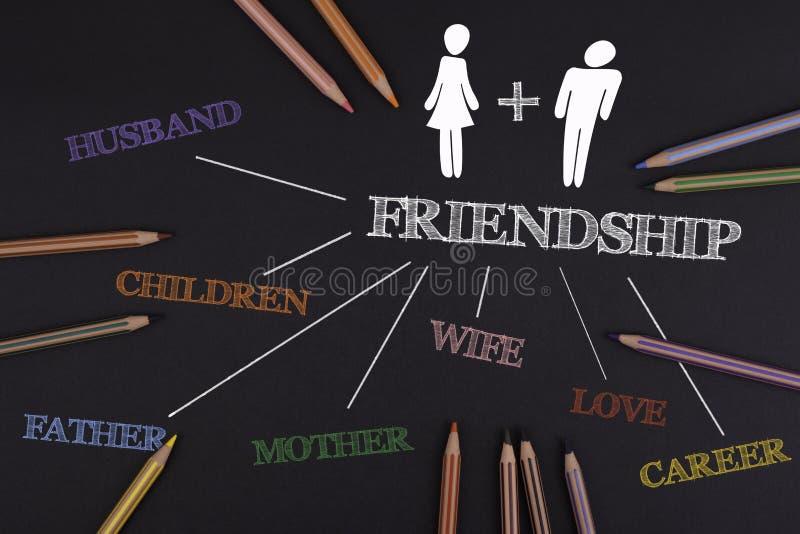 Amistad, concepto de las relaciones Escritorio de oficina negro foto de archivo