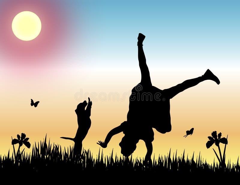 Amistad en la puesta del sol stock de ilustración