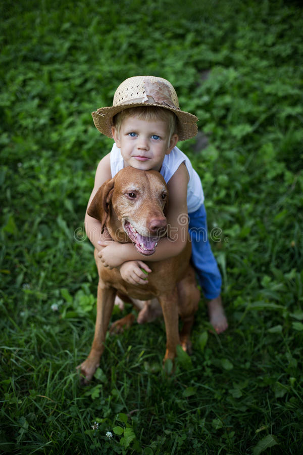 Amistad entre un niño y un perro imagenes de archivo