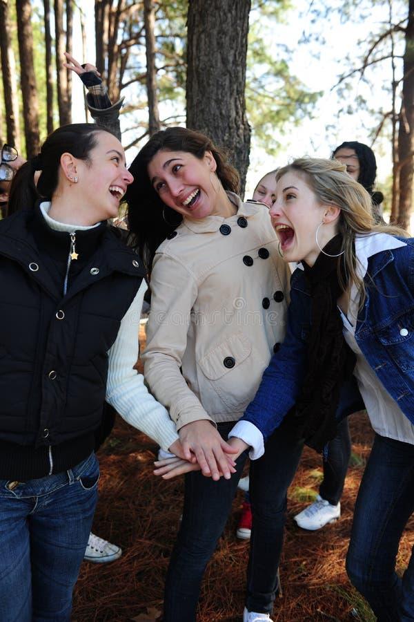 Amistad - grupo de amigos de muchacha felices imagen de archivo