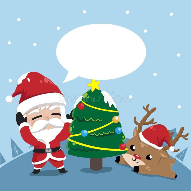Amistad Papá Noel y pequeños ciervos en la Navidad stock de ilustración