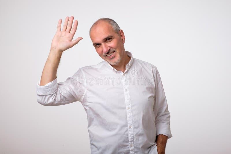 Amistoso-mirada del hombre europeo atractivo que renuncia la mano en hola gesto mientras que sonríe alegre imagen de archivo libre de regalías