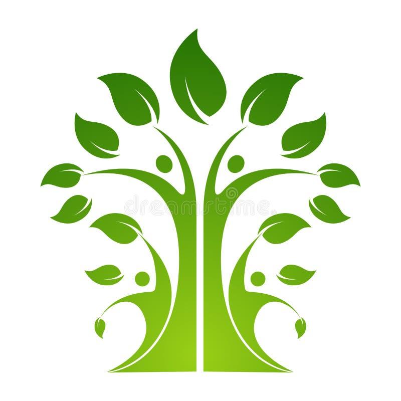 Amitié collant ensemble l'arbre organique de logo de personnes de logo de personnes illustration de vecteur