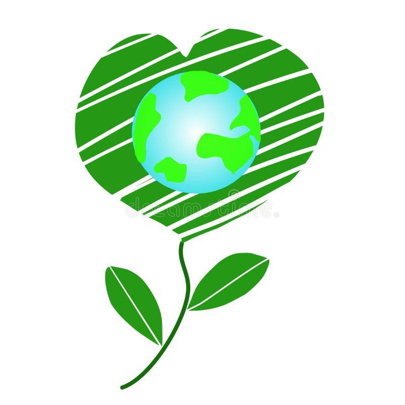 Amitié de jour du monde et jour de terre heureux de concepts d'environnement, conservation de la terre, coeur de nature - vecteur illustration libre de droits