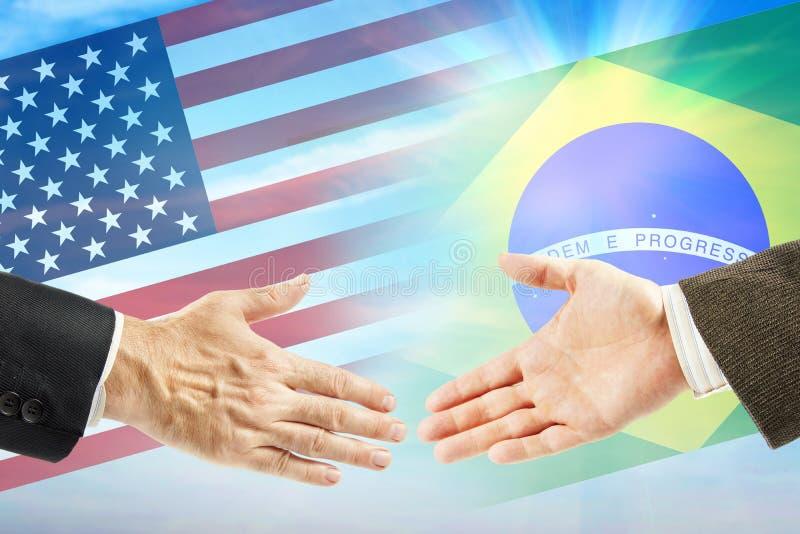 Amitié et coopération entre les Etats-Unis et le Brésil images libres de droits