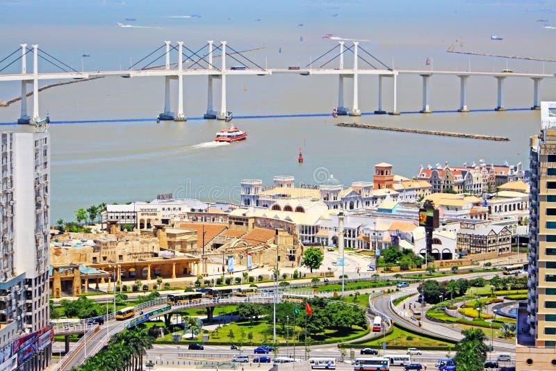 Amizade Bridge And Cityscape, Macau, China stock photos