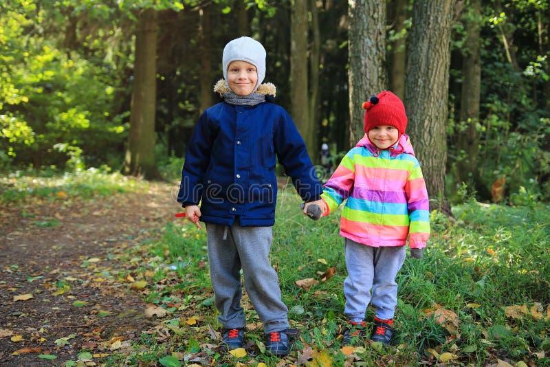 Amizade do ` s das crianças As crianças estão junto e guardam as mãos no parque do outono Rapaz pequeno e namoradas fotografia de stock royalty free